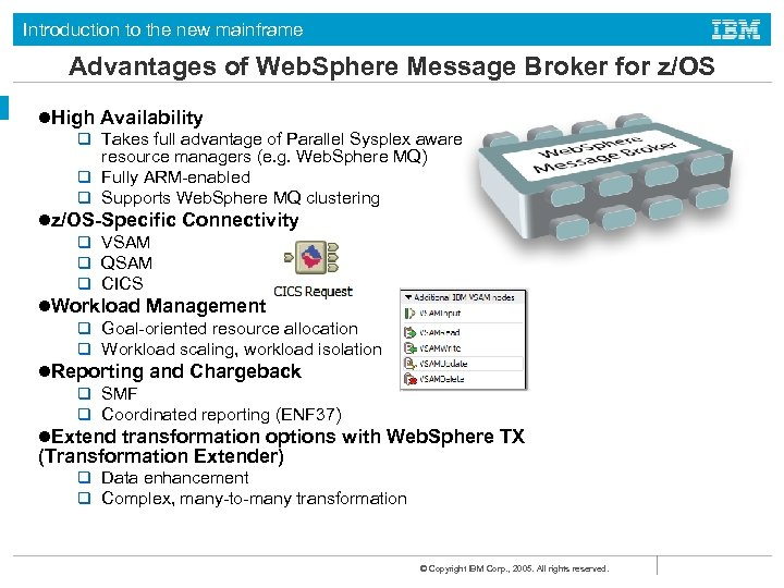 Introduction to the new mainframe Advantages of Web. Sphere Message Broker for z/OS l.