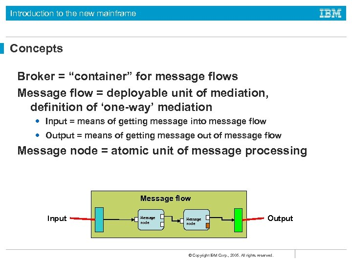 """Introduction to the new mainframe Concepts Broker = """"container"""" for message flows Message flow"""