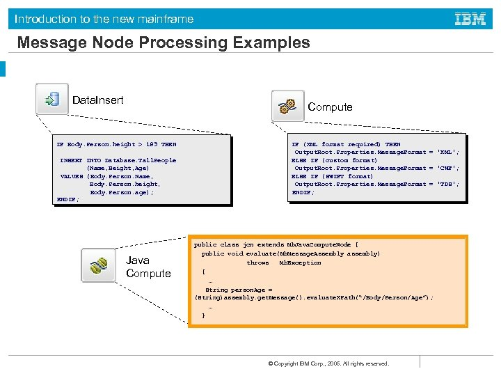 Introduction to the new mainframe Message Node Processing Examples Data. Insert Compute IF Body.