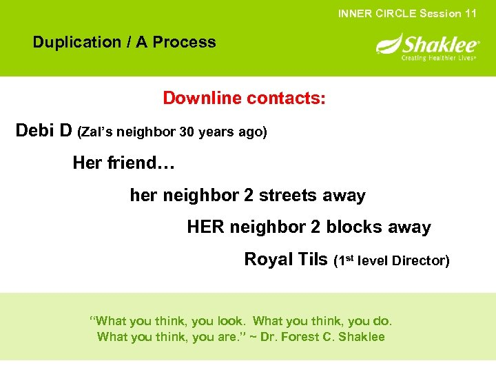 INNER CIRCLE Session 11 Duplication / A Process Downline contacts: Debi D (Zal's neighbor