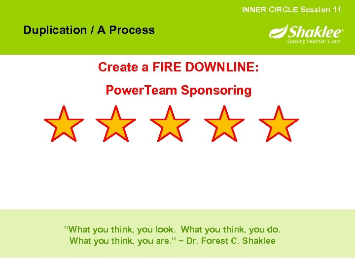 INNER CIRCLE Session 11 Duplication / A Process Create a FIRE DOWNLINE: Power. Team