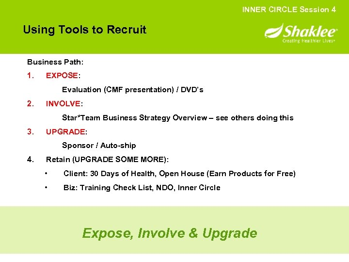 INNER CIRCLE Session 4 Using Tools to Recruit Business Path: 1. EXPOSE: Evaluation (CMF