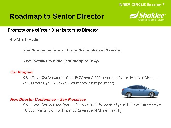 INNER CIRCLE Session 7 Roadmap to Senior Director Promote one of Your Distributors to
