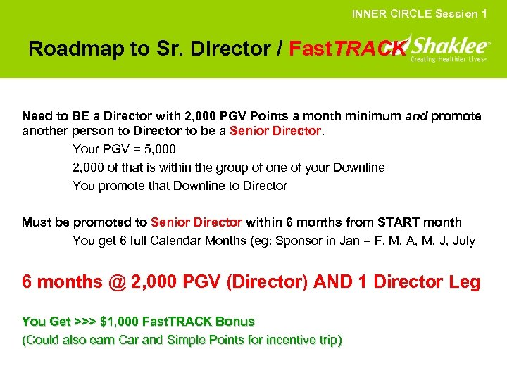 INNER CIRCLE Session 1 Roadmap to Sr. Director / Fast. TRACK Need to BE
