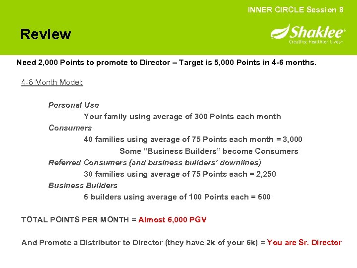 INNER CIRCLE Session 8 Review Need 2, 000 Points to promote to Director –