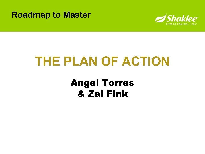 Roadmap to Master THE PLAN OF ACTION Angel Torres & Zal Fink