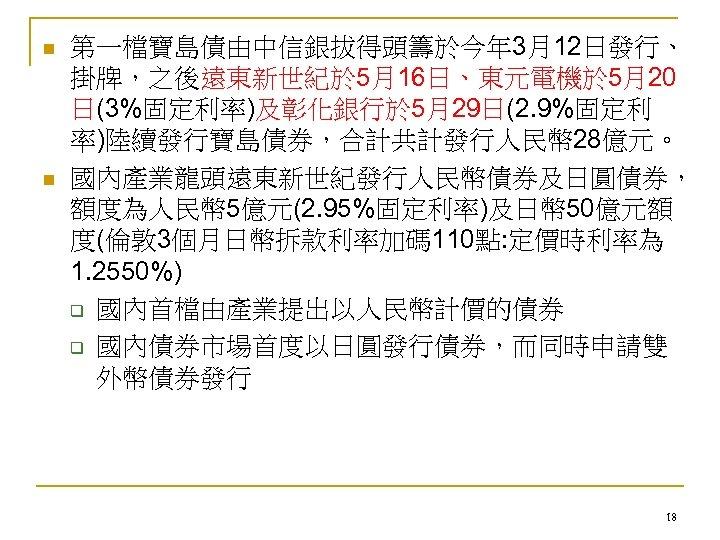 n n 第一檔寶島債由中信銀拔得頭籌於今年 3月12日發行、 掛牌,之後遠東新世紀於 5月16日、東元電機於 5月20 日(3%固定利率)及彰化銀行於 5月29日(2. 9%固定利 率)陸續發行寶島債券,合計共計發行人民幣 28億元。 國內產業龍頭遠東新世紀發行人民幣債券及日圓債券, 額度為人民幣