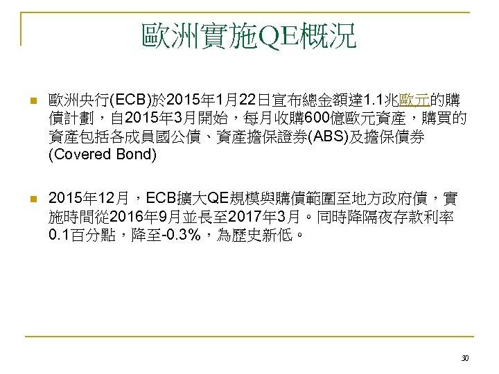 歐洲實施QE概況 n 歐洲央行(ECB)於 2015年 1月22日宣布總金額達 1. 1兆歐元的購 債計劃,自 2015年 3月開始,每月收購 600億歐元資產,購買的 資產包括各成員國公債、資產擔保證券(ABS)及擔保債券 (Covered Bond)
