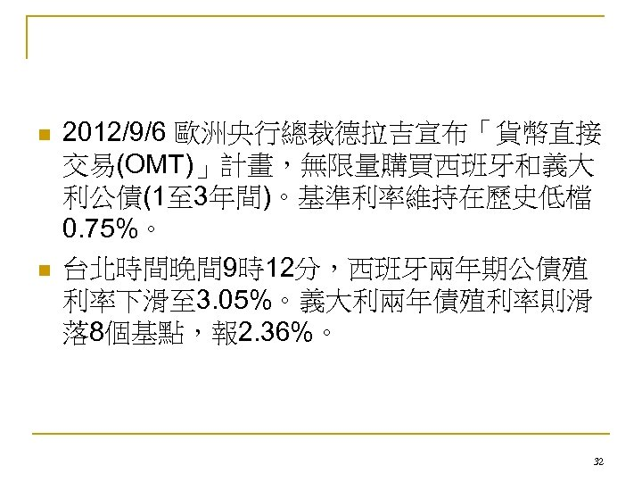 n n 2012/9/6 歐洲央行總裁德拉吉宣布「貨幣直接 交易(OMT)」計畫,無限量購買西班牙和義大 利公債(1至 3年間)。基準利率維持在歷史低檔 0. 75%。 台北時間晚間 9時12分,西班牙兩年期公債殖 利率下滑至 3. 05%。義大利兩年債殖利率則滑