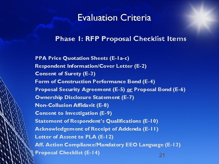 Evaluation Criteria Phase 1: RFP Proposal Checklist Items PPA Price Quotation Sheets (E-1 a-c)