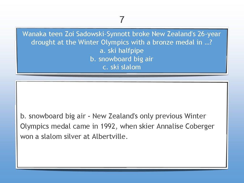 7 Wanaka teen Zoi Sadowski-Synnott broke New Zealand's 26 -year drought at the Winter