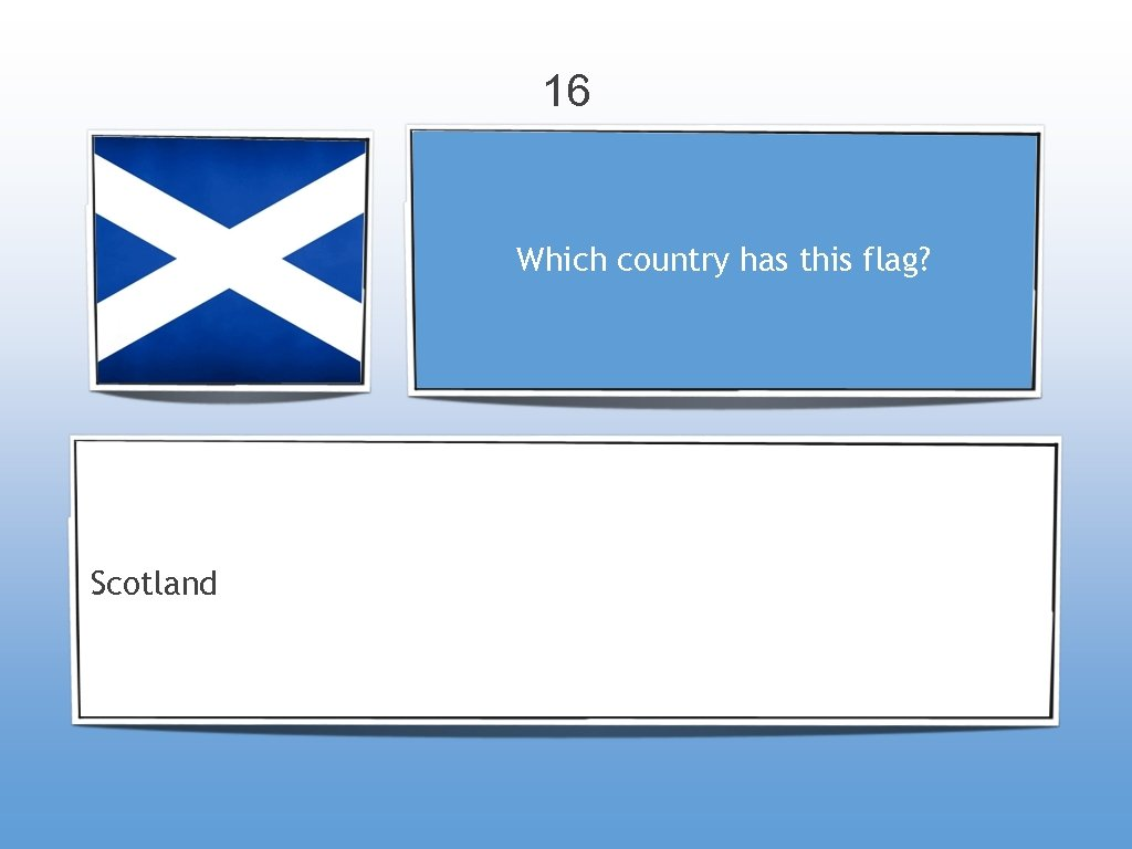16 Which country has this flag? Scotland