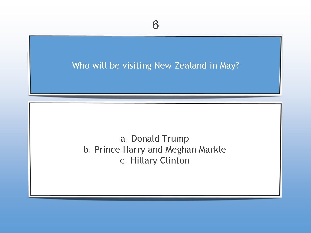6 Who will be visiting New Zealand in May? a. Donald Trump b. Prince