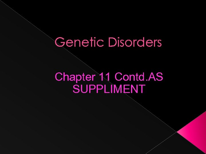Genetic Disorders Chapter 11 Contd. AS SUPPLIMENT