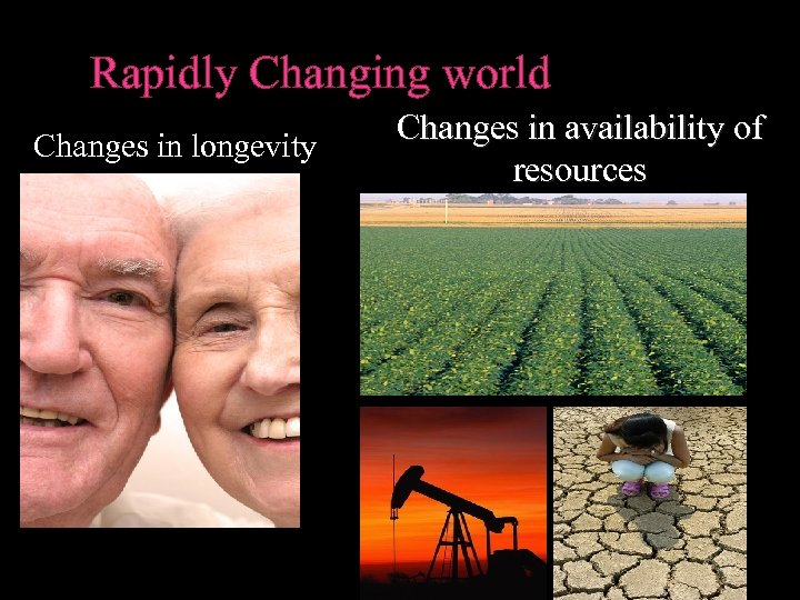 Rapidly Changing world Changes in longevity Changes in availability of resources