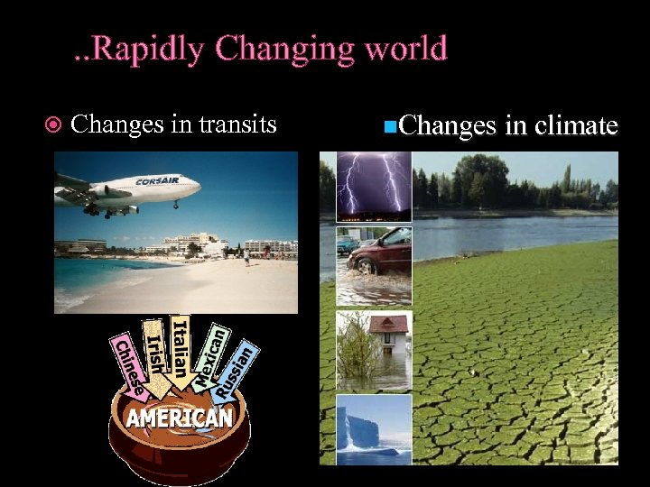 . . Rapidly Changing world Changes in transits n. Changes in climate