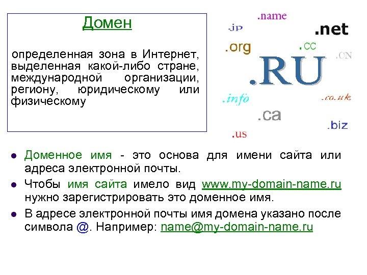 Домен определенная зона в Интернет, выделенная какой-либо стране, международной организации, региону, юридическому или физическому