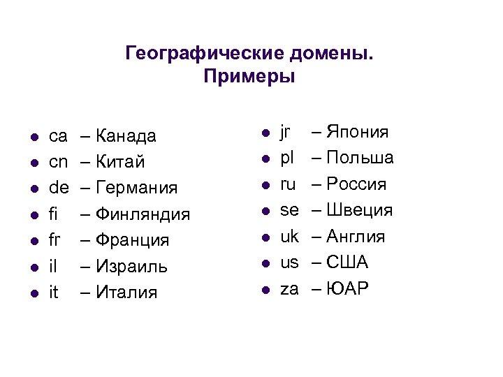 Географические домены. Примеры l l l l ca cn de fi fr il it