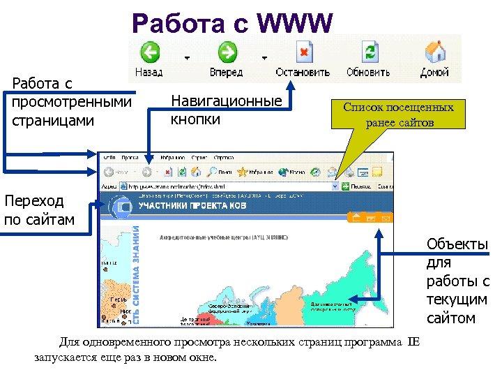 Работа с WWW Работа с просмотренными страницами Навигационные кнопки Список посещенных ранее сайтов Переход