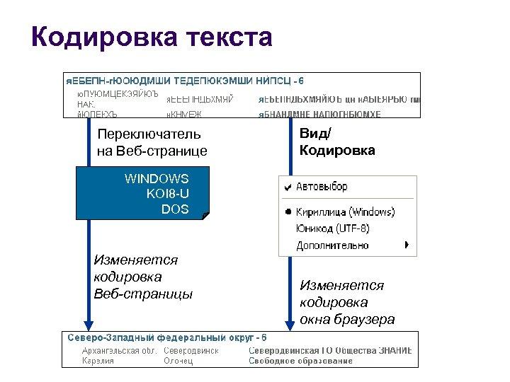 Кодировка текста Переключатель на Веб-странице Вид/ Кодировка WINDOWS KOI 8 -U DOS Изменяется кодировка