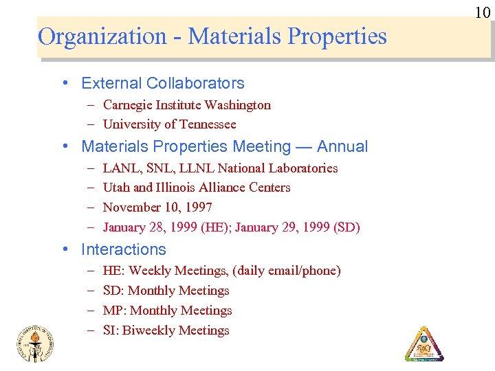 10 Organization - Materials Properties • External Collaborators – Carnegie Institute Washington – University