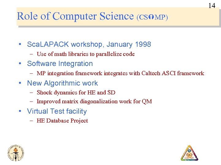 14 Role of Computer Science (CS MP) • Sca. LAPACK workshop, January 1998 –