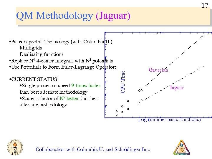 17 QM Methodology (Jaguar) • CURRENT STATUS: • Single processor speed 9 times faster