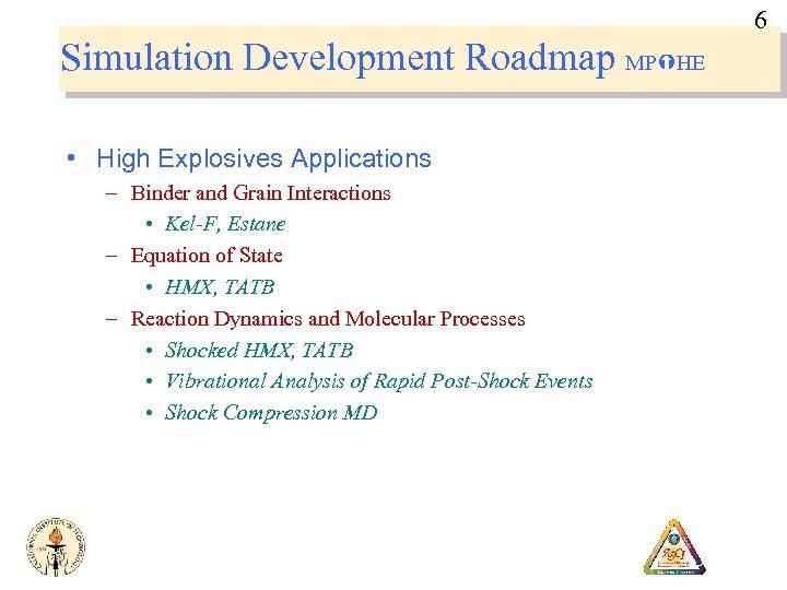 6 Simulation Development Roadmap MP HE • High Explosives Applications – Binder and Grain