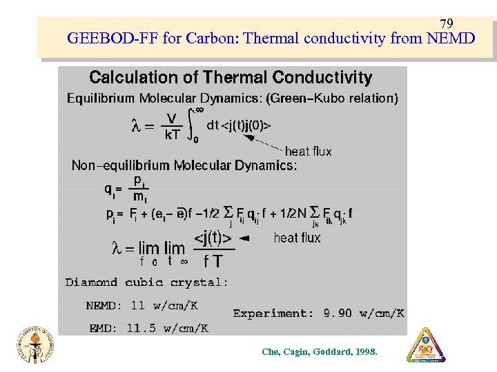 79 GEEBOD-FF for Carbon: Thermal conductivity from NEMD Che, Cagin, Goddard, 1998.