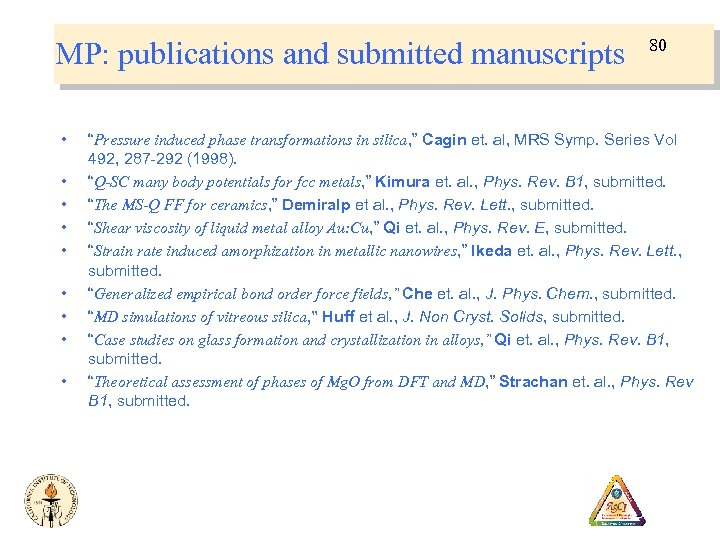 """MP: publications and submitted manuscripts • • • 80 """"Pressure induced phase transformations in"""