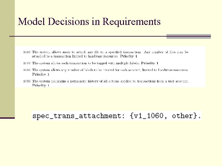 Model Decisions in Requirements