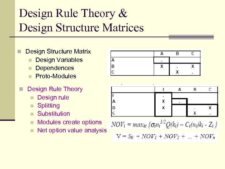 Design Rule Theory & Design Structure Matrices n Design Structure Matrix n n n