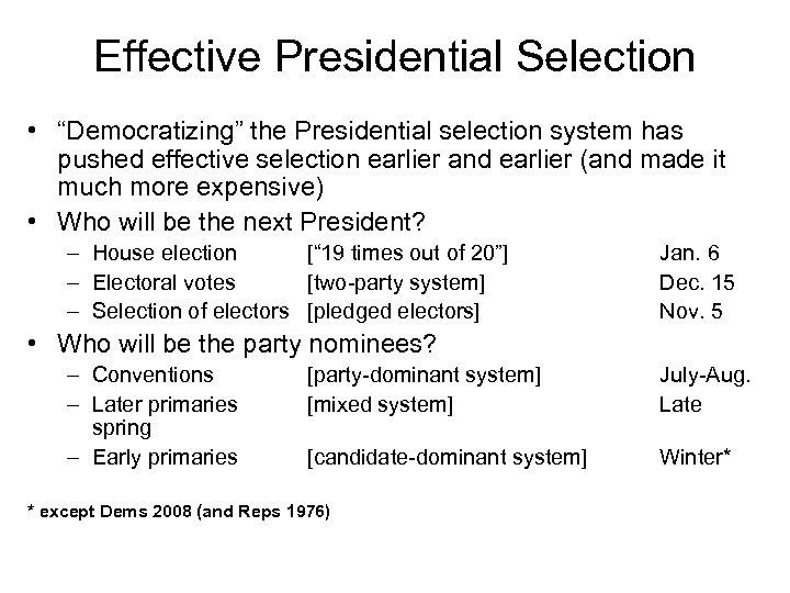 "Effective Presidential Selection • ""Democratizing"" the Presidential selection system has pushed effective selection earlier"