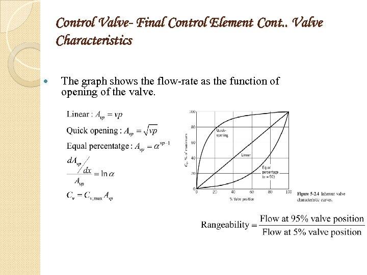 Control Valve- Final Control Element Cont. . Valve Characteristics The graph shows the flow-rate