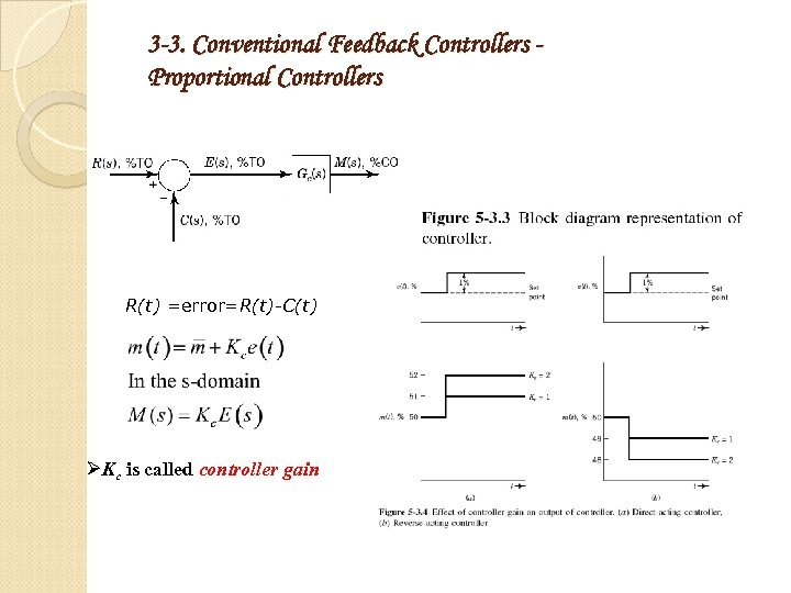 3 -3. Conventional Feedback Controllers Proportional Controllers R(t) =error=R(t)-C(t) ØKc is called controller gain