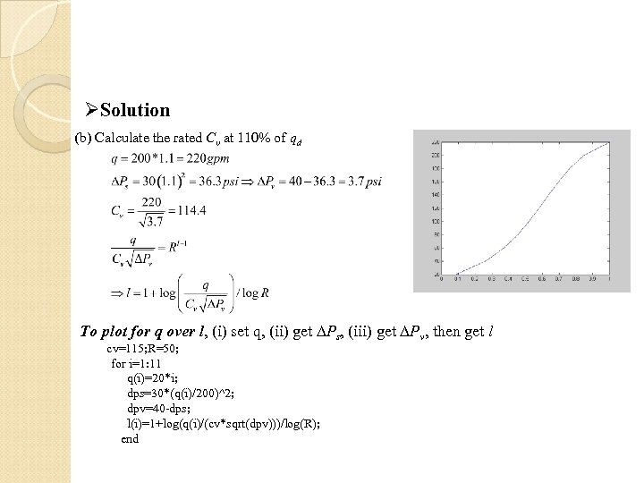ØSolution (b) Calculate the rated Cv at 110% of qd To plot for q