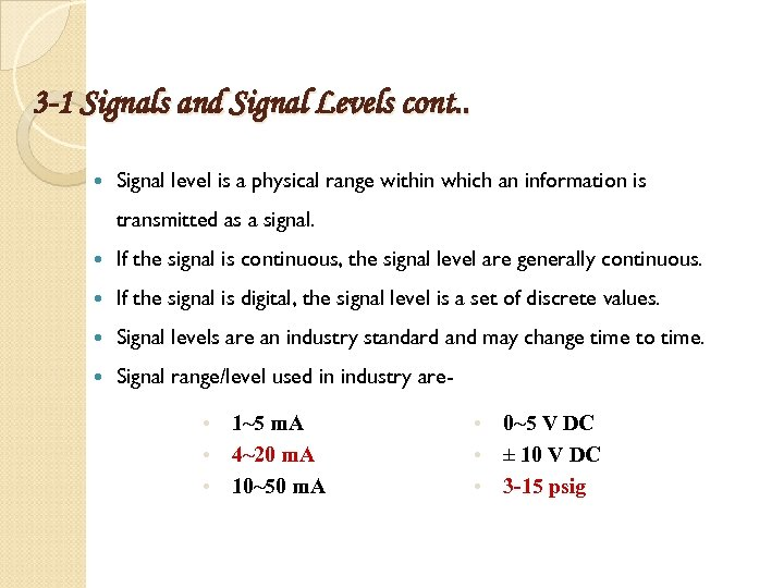3 -1 Signals and Signal Levels cont. . Signal level is a physical range