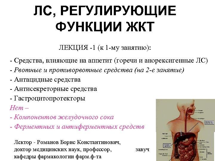 ЛС, РЕГУЛИРУЮЩИЕ ФУНКЦИИ ЖКТ ЛЕКЦИЯ -1 (к 1 -му занятию): - Средства, влияющие на