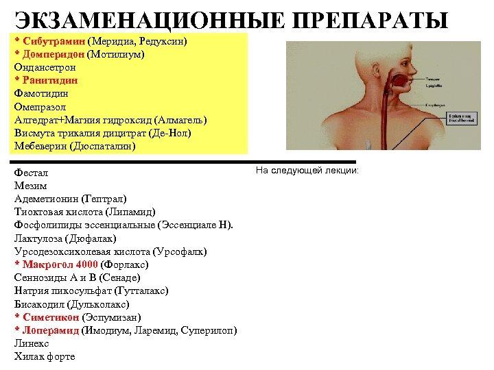 ЭКЗАМЕНАЦИОННЫЕ ПРЕПАРАТЫ * Сибутрамин (Меридиа, Редуксин) * Домперидон (Мотилиум) Ондансетрон * Ранитидин Фамотидин Омепразол