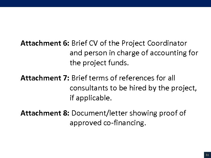 VI. List of Attachments (3/3) Attachment 6: Brief CV of the Project Coordinator and