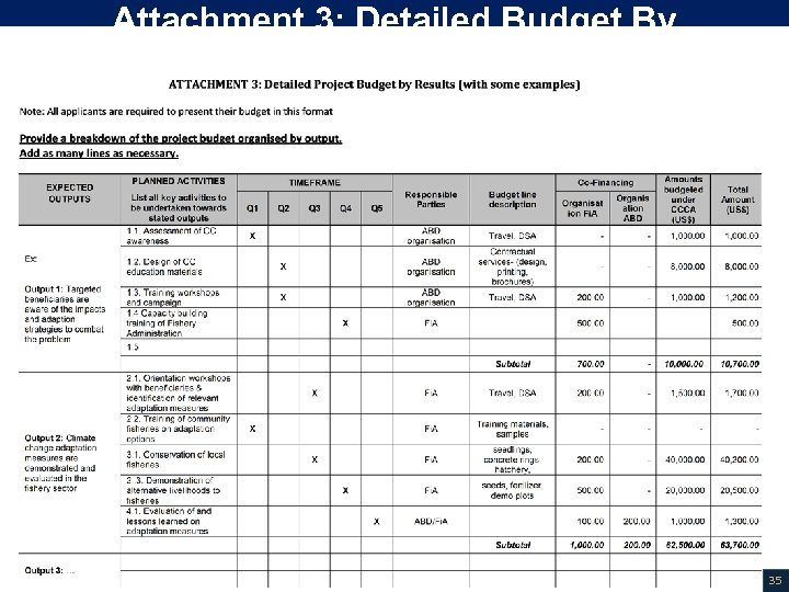 Attachment 3: Detailed Budget By Results 35