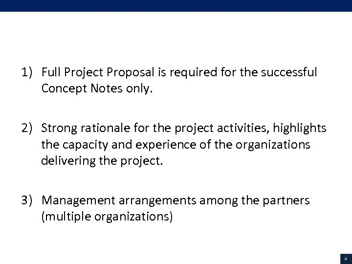 Guidance Notes on Project Proposals 1) Full Project Proposal is required for the successful