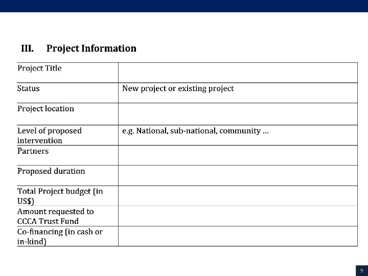 Project Proposal template (2/2) 9