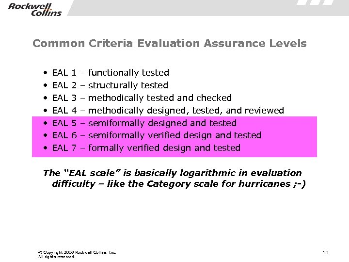 Common Criteria Evaluation Assurance Levels • • EAL EAL 1 2 3 4 5