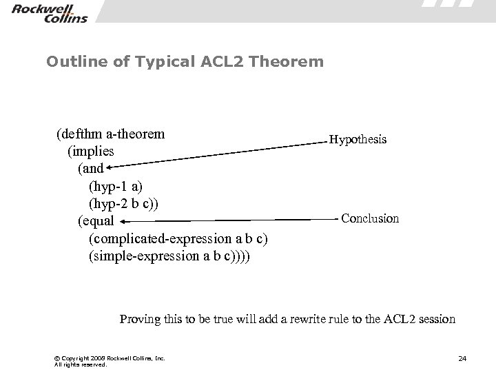 Outline of Typical ACL 2 Theorem (defthm a-theorem (implies (and (hyp-1 a) (hyp-2 b