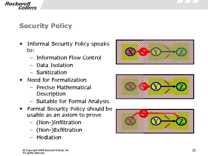 Security Policy • Informal Security Policy speaks to: – Information Flow Control – Data