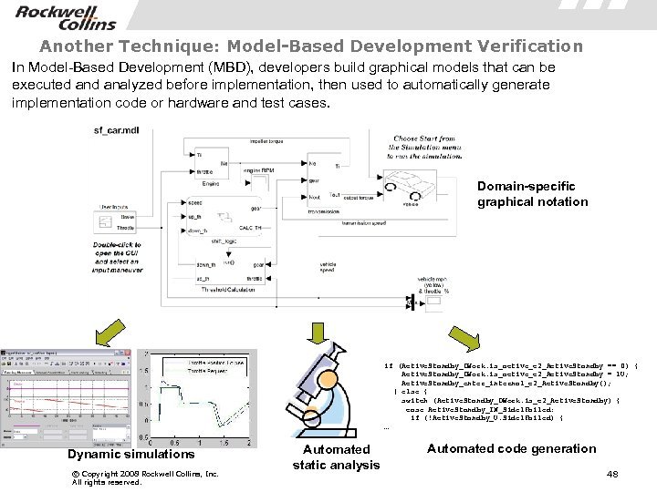 Another Technique: Model-Based Development Verification In Model-Based Development (MBD), developers build graphical models that
