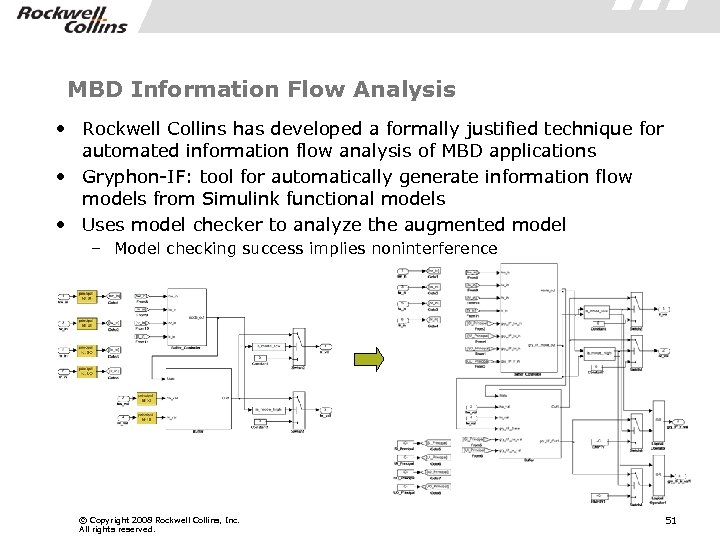 MBD Information Flow Analysis • Rockwell Collins has developed a formally justified technique for