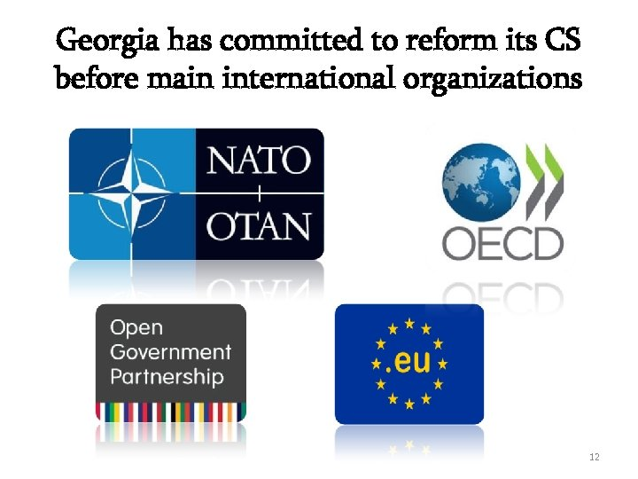 Georgia has committed to reform its CS before main international organizations 12