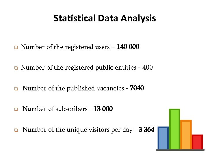 Statistical Data Analysis q Number of the registered users – 140 000 q Number